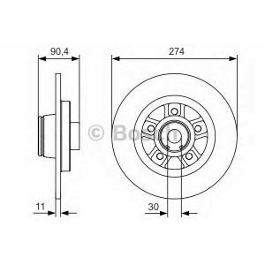 BOSCH 0986479015 Гальмівний диск Renault Kangoo II с подшипником R