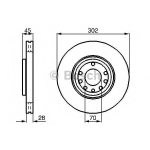 BOSCH 0986479076 Гальмівний диск OPEL/SAAB VectraC/9-3 F \02>>