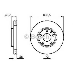 BOSCH 0 986 479 078 Диск тормозной NISSAN, OPEL, RENAULT, передн., вент. (пр-во Bosch)
