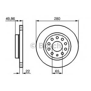Тормозной диск 0986479098 bosch - SEAT LEON (1P1) Наклонная задняя часть 1.6 TDI