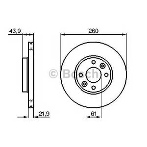 BOSCH 0986479103 Гальмівний диск NISSAN RENAULT Micra K12E, Note E11, Clio, Logan,Megane II F