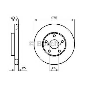 BOSCH 0986479111 Гальмівний диск TOYOTA RAV 4 II 00-05 F