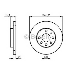 BOSCH 0986479190 Гальмівний диск OPEL CorsaC F вентил. \00>>
