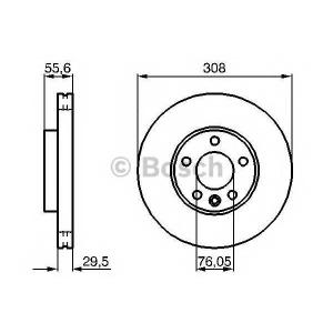 BOSCH 0986479211 Гальмівний диск VW California, Caravelle, Multivan T5 [7H], Touareg [7L6]/[7LA], Transporter T5 [7H]