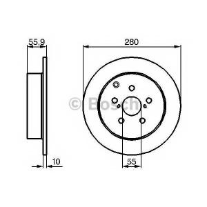 Тормозной диск 0986479242 bosch - TOYOTA AVENSIS универсал (T25) универсал 2.0 VVTi