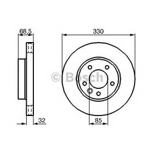 BOSCH 0986479248 Гальмівний диск VW PORSCHE Cayenne 3.2[9PA]/Touareg [7L6]/[7LA] ''FL 02>>