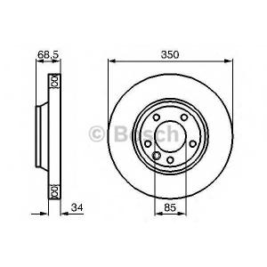 BOSCH 0 986 479 249 Диск тормозной AUDI Q7, VW TOUAREG передн., вент. (пр-во Bosch)