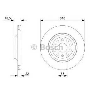 BOSCH 0986479303 Тормозной диск задний VW Passat 00- (310*22)