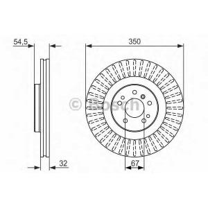 Тормозной диск 0986479329 bosch - MERCEDES-BENZ GL-CLASS (X164) вездеход закрытый GL 350 CDI (164.822)