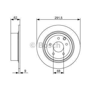 BOSCH 0986479362 Тормозной диск задний Nissan Qashqai 1.6/2.0