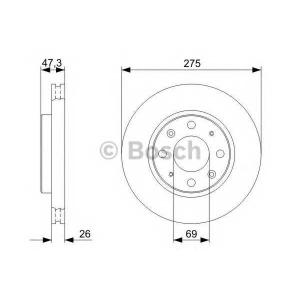 Тормозной диск 0986479369 bosch - KIA SPECTRA седан (LD) седан 1.6