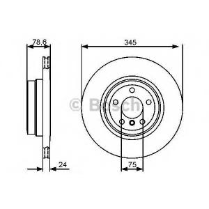 BOSCH 0986479443 Гальмівний диск BMW X5/X6 R 345 mm \07>>
