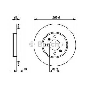 BOSCH 0986479459 Тормозной диск передний HYUNDAI Getz 02- (255,5*19)