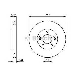 Тормозной диск 0986479460 bosch - HYUNDAI ix20 (JC) Наклонная задняя часть 1.4