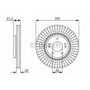 0986479595 bosch Тормозной диск KIA SPORTAGE вездеход закрытый 1.6 GDI