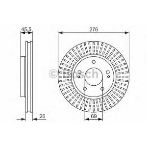 Тормозной диск 0986479604 bosch - MITSUBISHI OUTLANDER I (CU_) вездеход закрытый 2.4 4WD