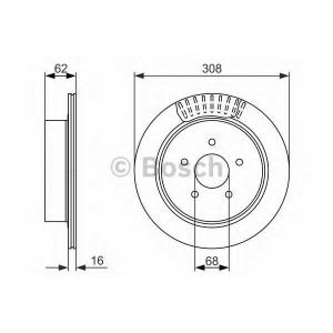 BOSCH 0986479606 Гальмівний диск NISSAN/INFINITY FX35,Murano 3,5 4x4 05- R