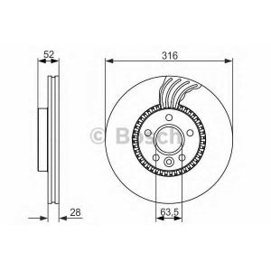 Тормозной диск 0986479620 bosch - LAND ROVER FREELANDER 2 (FA_) вездеход закрытый 2.0