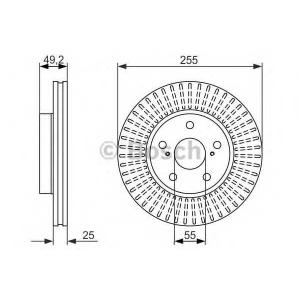 BOSCH 0986479663 Гальмівний диск LEXUS CT200h, Prius 2009- F