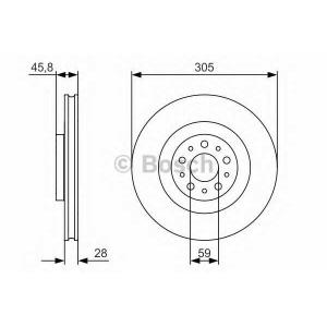 BOSCH 0 986 479 736 Тормозной диск Фиат 500Л