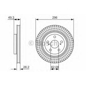 BOSCH 0986479768 Гальмівний диск Lexus ES350, ES300, ES250 2006, 2012-, Toyota Camry V40, V50  F