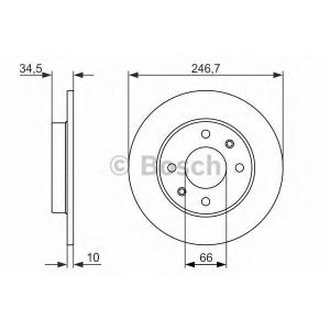 Тормозной диск 0986479827 bosch - PEUGEOT 205 II (20A/C) Наклонная задняя часть 1.4
