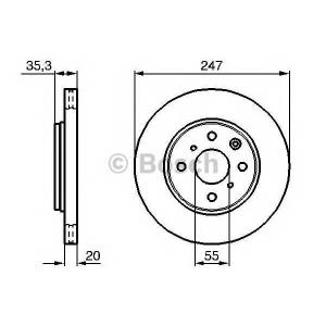BOSCH 0 986 479 B91 Тормозной диск Ситроен С1
