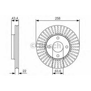 BOSCH 0986479R64 Тормозной диск передний FORD FOCUS 98- Mazda 2