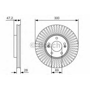 BOSCH 0986479S14 Гальмівний диск PR2 HYUNDAI Tucson/Sonata/ix35 ''F ''2,0i-2,0 CRDI ''04>>