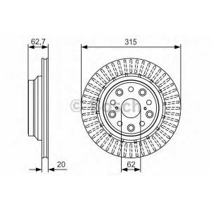 BOSCH 0986479T06 Гальмівний диск LEXUS LS 460/460L/600H IV (USF4_,UVF4 \06>>
