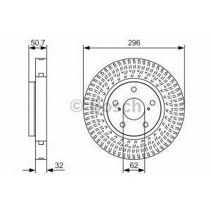BOSCH 0986479T38 Гальмівний диск LEXUS/TOYOTA GS/IS/Mark X ''FL