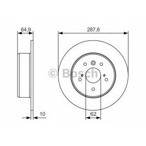 BOSCH 0986479T69 Гальмівний диск TOYOTA Camry V10/V20/V30 \R