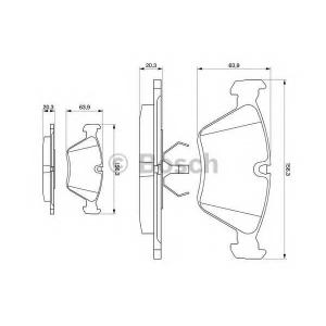 Комплект тормозных колодок, дисковый тормоз 0986490640 bosch - BMW 5 (E34) седан 520 i 24V
