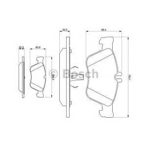 Комплект тормозных колодок, дисковый тормоз 0986494001 bosch - MERCEDES-BENZ E-CLASS (W210) седан E 280 (210.063)