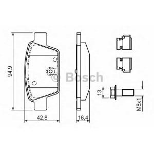 Комплект тормозных колодок, дисковый тормоз 0986494030 bosch - LANCIA DELTA III (844) Наклонная задняя часть 2.0 D Multijet