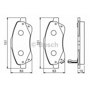 0986494054 bosch Комплект тормозных колодок, дисковый тормоз TOYOTA AVENSIS универсал 2.0 VVTi