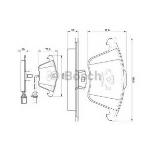 Комплект тормозных колодок, дисковый тормоз 0986494104 bosch - AUDI A4 (8EC, B7) седан 2.0 TFSI