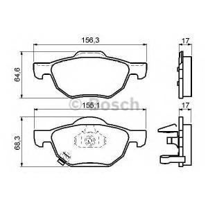 Комплект тормозных колодок, дисковый тормоз 0986494135 bosch - HONDA ACCORD VIII (CL_, CM_) седан 2.0 (CL7)