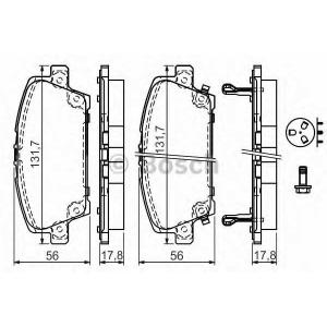 BOSCH 0986494136 Гальмівні колодки дискові HONDA Civic (FD1)| Civic (FK1) 06-