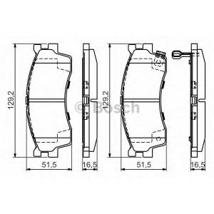 Комплект тормозных колодок, дисковый тормоз 0986494146 bosch - KIA CARENS I (FC) вэн 1.8 i