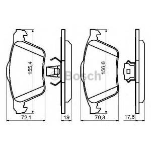 Комплект тормозных колодок, дисковый тормоз 0986494158 bosch - VOLVO XC90 универсал 3.2