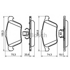 Комплект тормозных колодок, дисковый тормоз 0986494159 bosch - VOLVO XC90 универсал 3.2