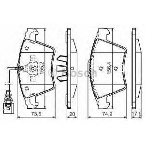 BOSCH 0986494164 Гальмівні колодки дискові VW Touareg (7LA, 7L6, 7L7) 03-
