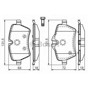 Комплект тормозных колодок, дисковый тормоз 0986494168 bosch - MINI MINI Roadster (R59) кабрио Cooper S