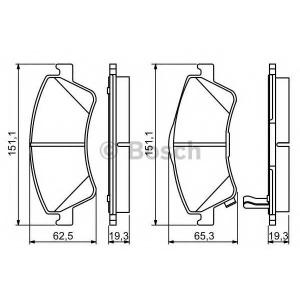 Комплект тормозных колодок, дисковый тормоз 0986494187 bosch - TOYOTA AVENSIS седан (T27) седан 2.0 D-4D