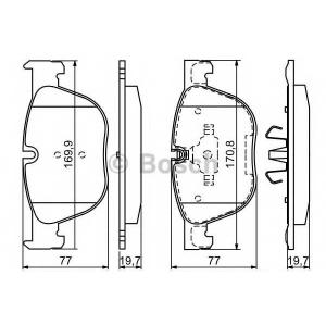 Комплект тормозных колодок, дисковый тормоз 0986494191 bosch - BMW X5 (E70) вездеход закрытый 3.0 si