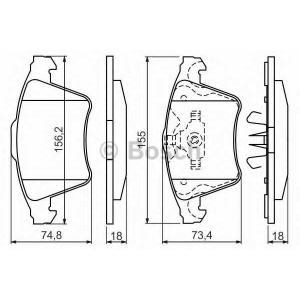 Комплект тормозных колодок, дисковый тормоз 0986494203 bosch - VW MULTIVAN V (7HM, 7HN, 7HF, 7EF, 7EM, 7EN) вэн 3.2 V6
