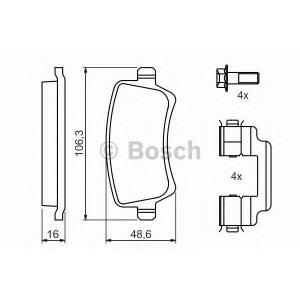 Комплект тормозных колодок, дисковый тормоз 0986494213 bosch - VOLVO V60 универсал 1.6 DRIVe