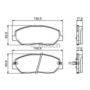 Комплект тормозных колодок, дисковый тормоз 0986494227 bosch - HYUNDAI SANTA F? II (CM) вездеход закрытый 2.7