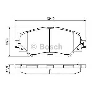 Комплект тормозных колодок, дисковый тормоз 0986494240 bosch - TOYOTA AURIS (ZZE15_, ADE15_, ZRE15_, NDE15_) Наклонная задняя часть 1.8 VVTi